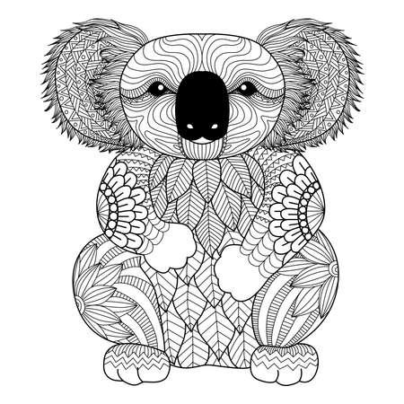armonia: Dibujo zentangle Koala por página para colorear, camisa efecto de diseño, logotipo, tatuaje y decoración. Vectores