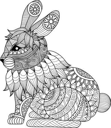 conejo: Dibujo de conejo zentangle de la página para colorear, camisa efecto de diseño, logotipo, tatuaje y decoración. Vectores