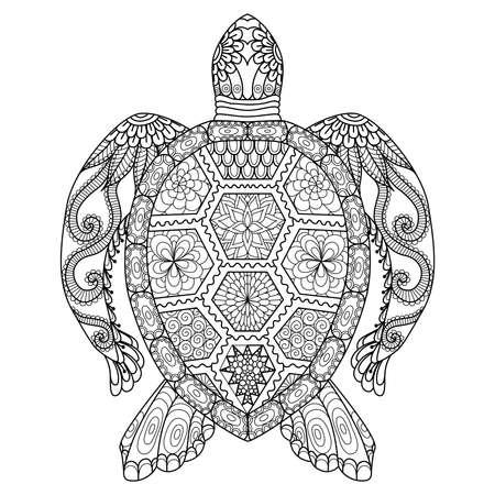 동물: 색칠 페이지, 셔츠 디자인 효과, 로고, 문신 및 장식 zentangle 거북이 그리기.