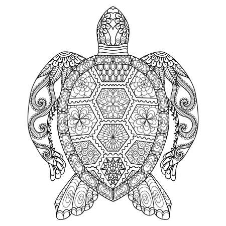 Drawing zentangle turtle for coloring page, shirt design effect, logo, tattoo and decoration. Ilustração