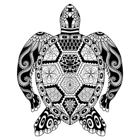 Drawing zentangle turtle for coloring page, shirt design effect, logo, tattoo and decoration. Vettoriali
