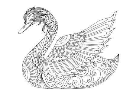 색칠 페이지, 셔츠 디자인 효과, 로고, 문신 및 장식 백조 그리기.