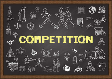 business competition: Doodle about competition on chalkboard
