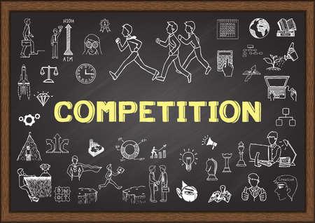 competencia: Doodle de la competencia en la pizarra Vectores
