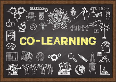 co: Business doodle about co learning on chalkboard.