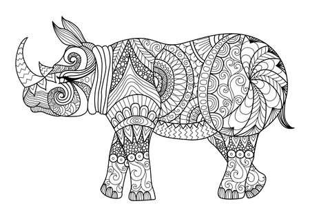 Tekening zentangle rhino voor kleurplaat, shirt design effect, logo, tatoeage en decoratie.