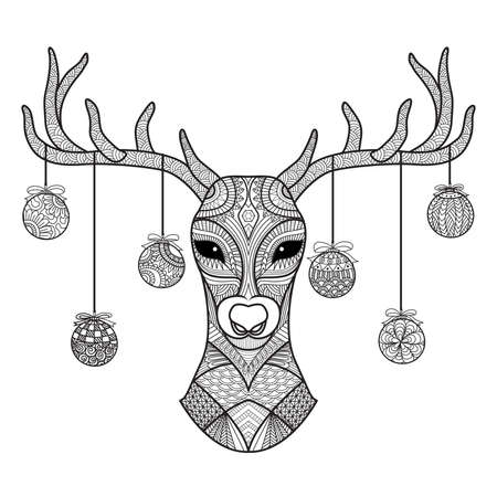 head for: Hand drawn deer head with Christmas balls hanging on its horn, for coloring book,christmas card,decoration