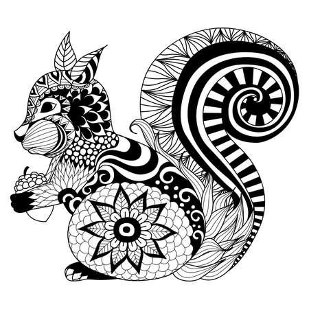 animales silvestres: Mano ardilla dibujado estilo del zentangle de libro para colorear, tatuaje, diseño de la camiseta, logotipo