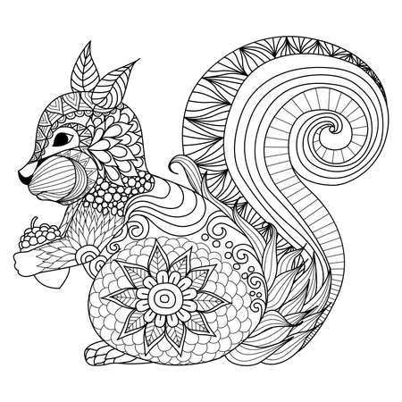 acorn: Hand drawn squirrel zentangle style for coloring book,tattoo,t shirt design,logo