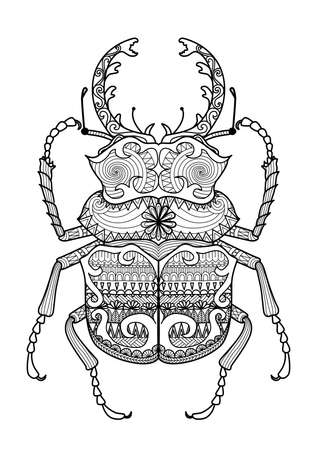 scarab: Hand drawn zentangle odontolabis cuvera bug for coloring page,logo, t shirt design effect and tattoo Illustration