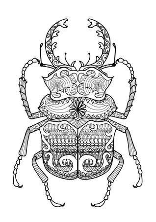 mano de dios: Zentangle mano dibujada odontolabis error cuvera de página para colorear, logotipo, diseño efecto camisa y tatuaje