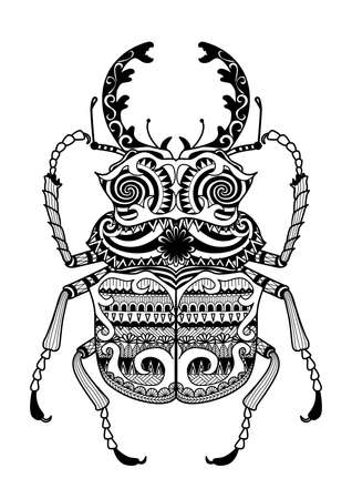 horus: Hand drawn zentangle odontolabis cuvera bug for coloring page,logo, t shirt design effect and tattoo Illustration