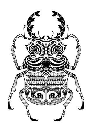 ojo de horus: Zentangle mano dibujada odontolabis error cuvera de página para colorear, logotipo, diseño efecto camisa y tatuaje