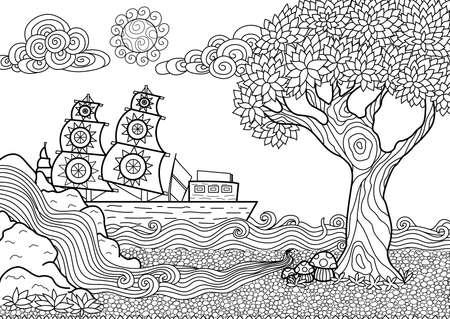 indio americano: Dibujado a mano paisaje marino estilo zentangle para colorear