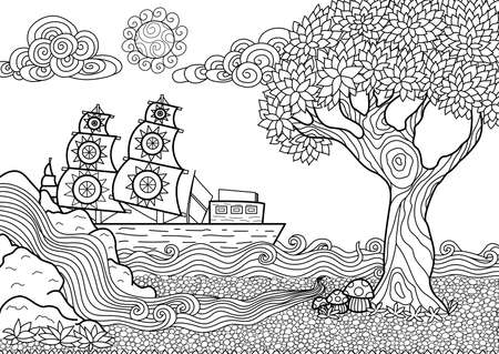 Hand drawn seascape zentangle style for coloring book Illustration