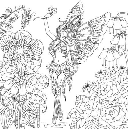 Dibujado a mano de hadas de vuelo en tierra de flores para colorear libro para adultos