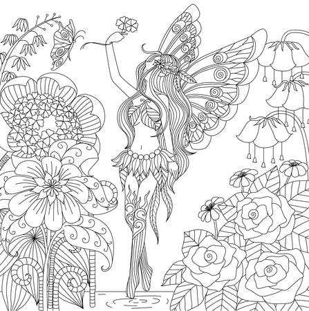 Hand drawn fairy flying in flower land for coloring book for adult Ilustração