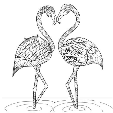 black and white image: Hand drawn flamingo couple style for coloring book,invitation card,icon,shirt or bag design