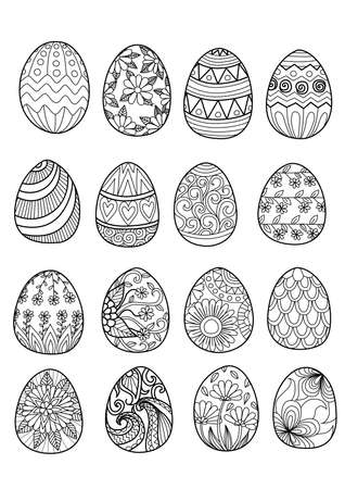 egg shape: Easter eggs for coloring book