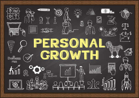 Hand drawn about personal growth on chalkboard