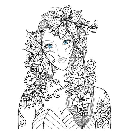 coloring book page: Beautiful forest fairy for coloring book for adult Illustration