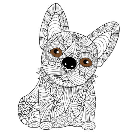 royal black background: Hand drawn bulldog puppy for coloring book for adult