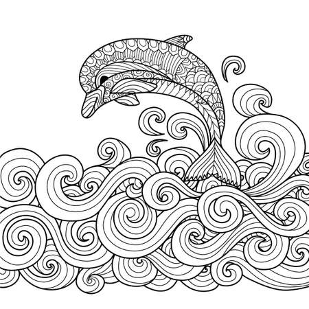 Hand drawn zentangle dolphin with scrolling sea wave for coloring book for adult Ilustração