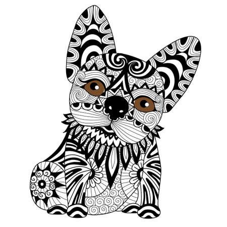 bulldog: Mano página para colorear puppyfor bulldog zentangle dibujado