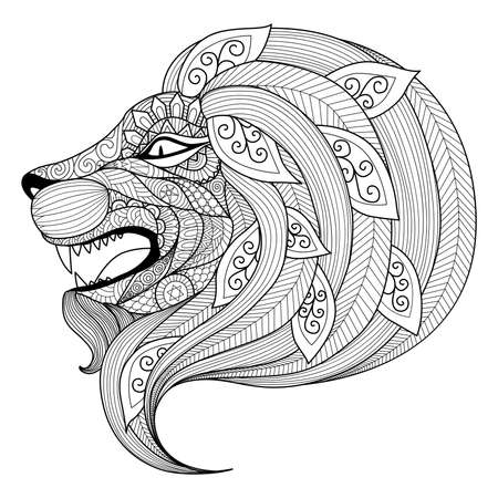 hand drawing: Drawing angry lion for coloring book for adult