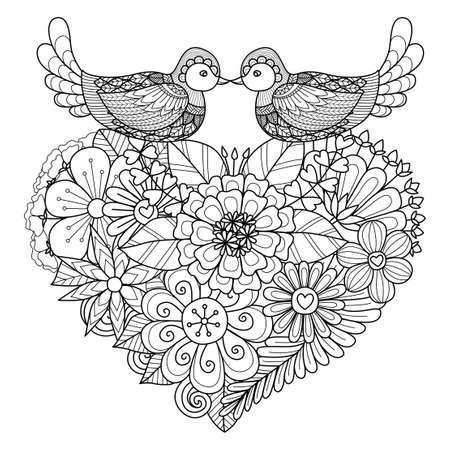 색칠 페이지와 다른 장식을위한 꽃 심장 모양의 둥지 위 키스 두 마리 일러스트