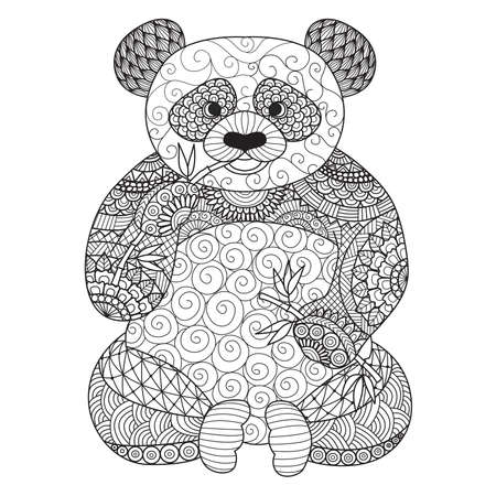 henna background: Hand drawn panda for coloring book