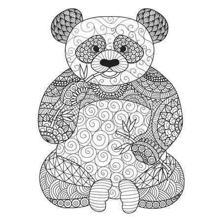 oso panda: Mano de la panda dibujado para colorear