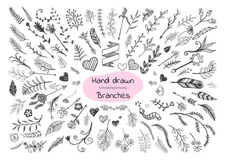 fir twig: Set of hand drawn branches, hearts and arrows