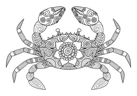 Crab for coloring book for adult