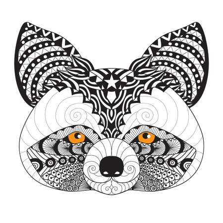white face: Raccoon for coloring page for adult