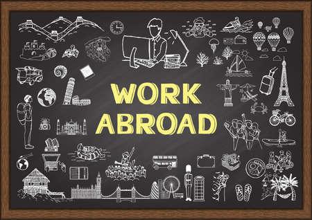 落書き黒板で海外の仕事について  イラスト・ベクター素材