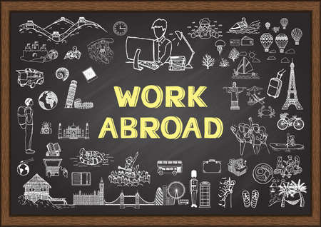 Doodle about work abroad on chalkboard