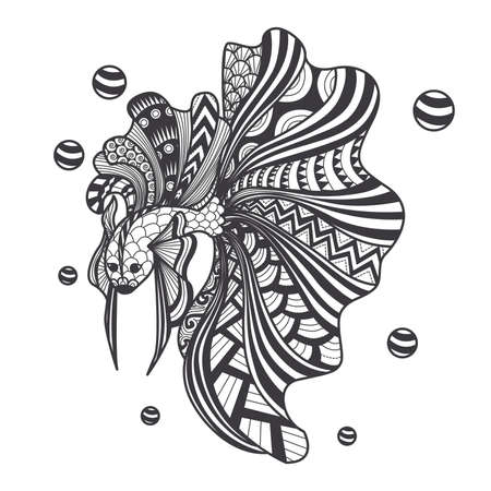 fighting fish for printing on product like mug, pillow, t shirt or adult coloring book. Vector illustration