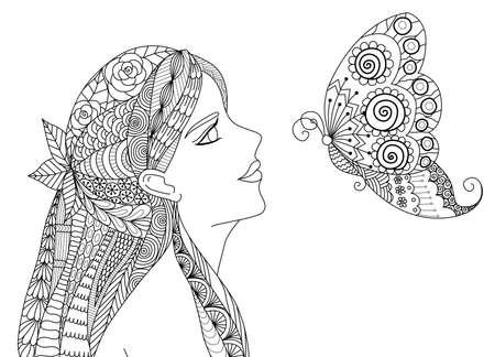 papillon dessin: Jolie fille regardant voler conception de papillon pour le livre à colorier pour adultes