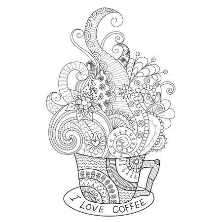 A cup of hot coffee design for coloring book for adult