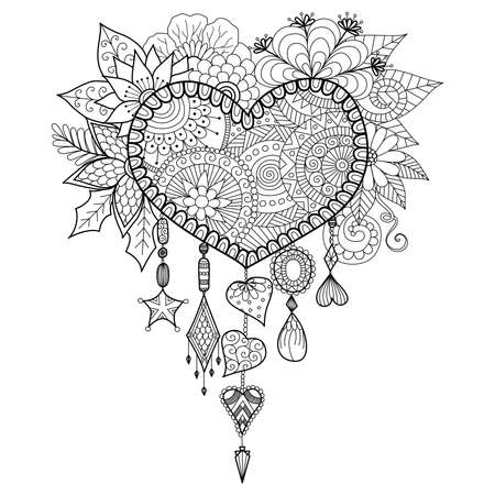 Heart shape floral dream catcher for coloring book for adult Stock Illustratie
