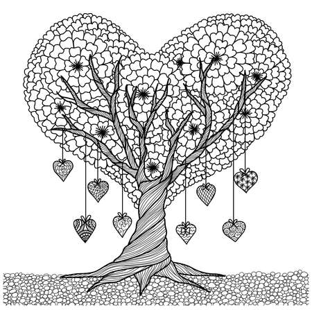 Hand drawn heart shape tree for coloring book for adult