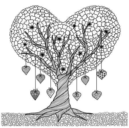 dibujos para colorear: árbol de forma de corazón dibujado a mano para colorear libro para adultos