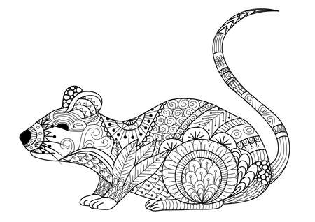 rata caricatura: Mano dibujado ratón para colorear para los adultos y otras decoraciones