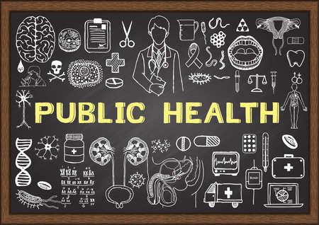 Doodle über die öffentliche Gesundheit auf Tafel Vektorgrafik