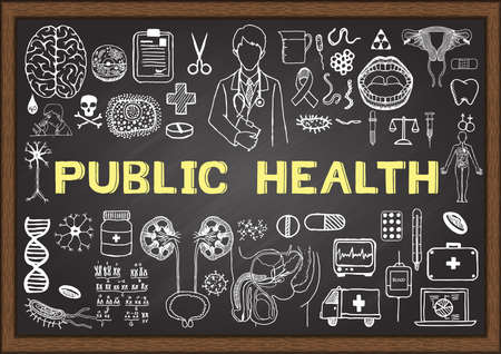 public health: Doodle about public health on chalkboard