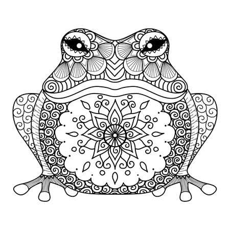 mandala tattoo: design of frog for coloring book