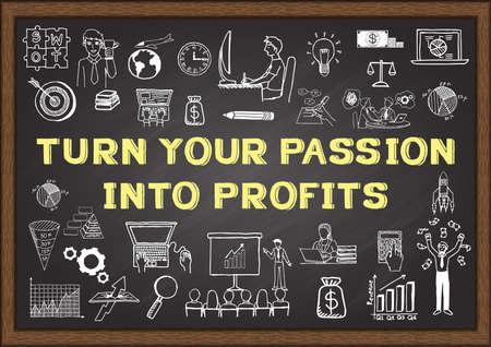 pasion: Garabatos sobre Encienda su pasión en ganancias en la pizarra Vectores
