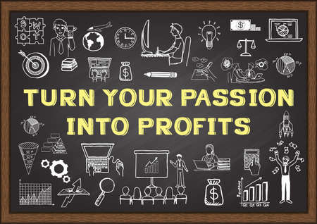 Doodle about Turn on your passion into profits on chalkboard