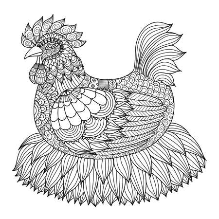 origami bird: chicken for coloring book for adult Illustration